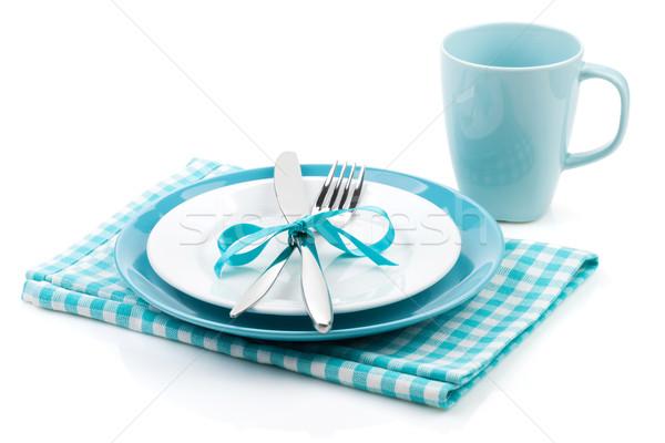 Villa kés tányérok szalvéta üres csésze Stock fotó © karandaev