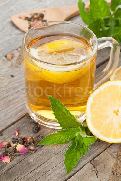 зеленый чай лимона мята деревянный стол фон таблице Сток-фото © karandaev