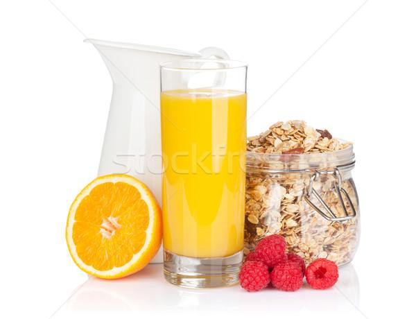 Kahvaltı müsli karpuzu portakal suyu yalıtılmış beyaz Stok fotoğraf © karandaev