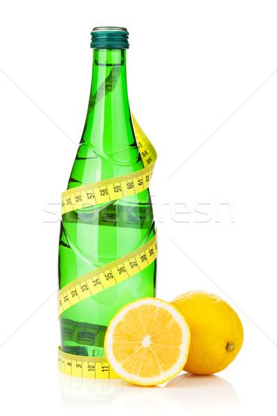 Stock fotó: Vizes · flakon · mérőszalag · friss · citromok · izolált · fehér