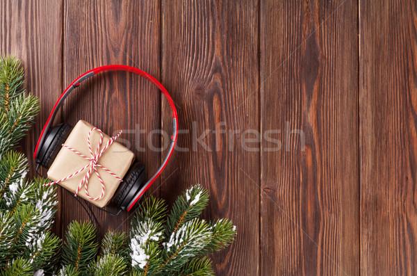 Navidad caja de regalo auriculares superior vista Foto stock © karandaev