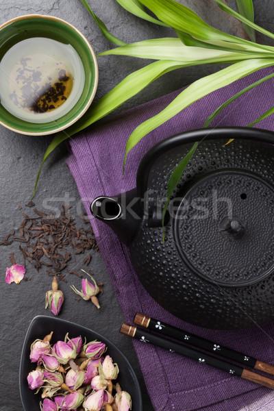ázsiai rózsa tea teáskanna szusi evőpálcikák Stock fotó © karandaev