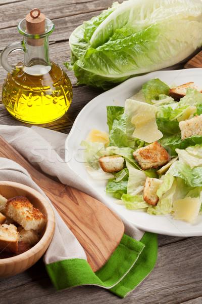 Fresh healthy caesar salad cooking Stock photo © karandaev