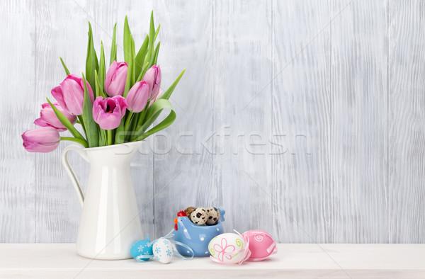 пасхальных яиц розовый тюльпаны букет шельфа Сток-фото © karandaev