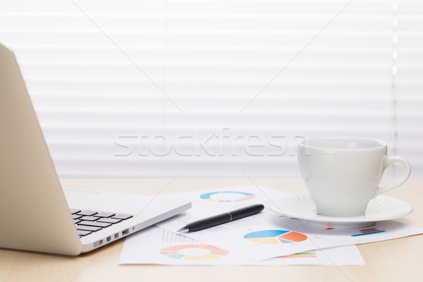 Office desk workplace with laptop and coffee Stock photo © karandaev