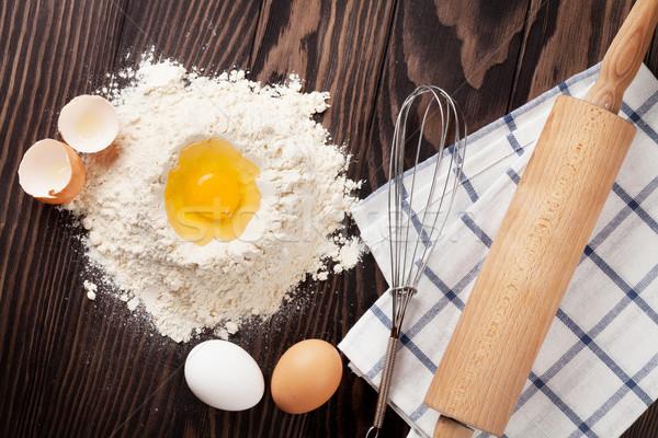 Keukentafel ingrediënten top voedsel Stockfoto © karandaev