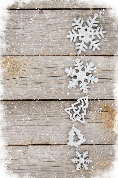Noël bois espace de copie mur neige Photo stock © karandaev
