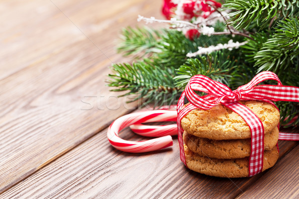 Christmas gingerbread cookies, candy cane and tree Stock photo © karandaev