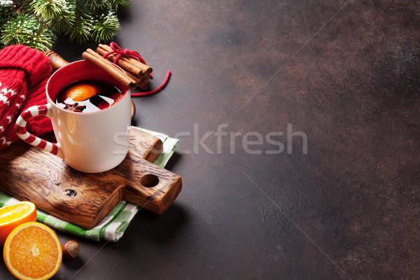 Navidad vino ingredientes vista espacio de la copia árbol Foto stock © karandaev