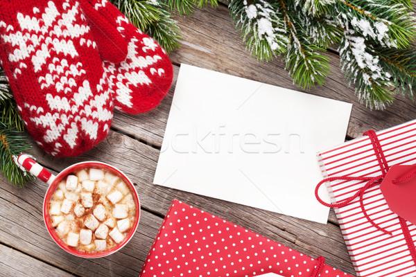 Stock fotó: Karácsony · üdvözlőlap · fa · ujjatlan · kesztyűk · forró · csokoládé · fenyőfa