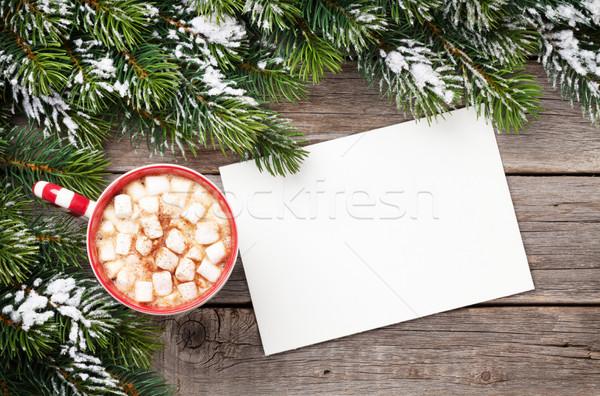 Natal cartão chocolate quente marshmallow mesa de madeira Foto stock © karandaev