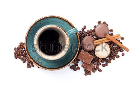 Stock photo: Coffee cup, chocolate and macaroons