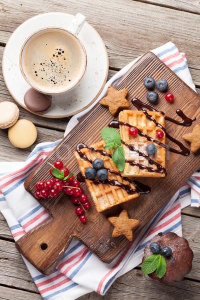 Caffè dolci frutti di bosco top view alimentare Foto d'archivio © karandaev