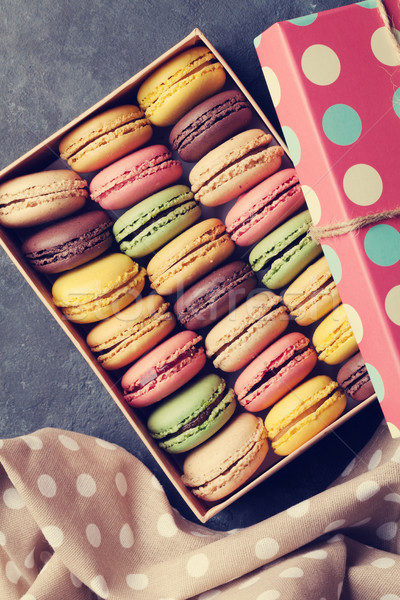 Colorful macaroons in a box Stock photo © karandaev