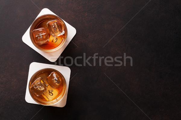 Whiskey with ice Stock photo © karandaev