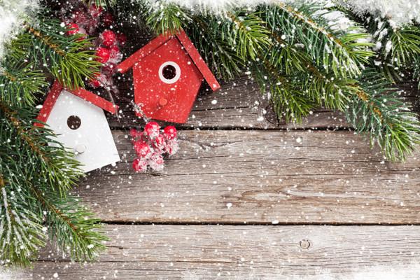 Christmas birdhouse decor and fir tree Stock photo © karandaev