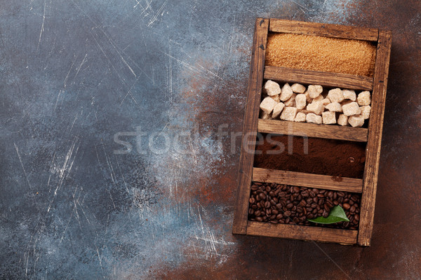 Zemin kahve esmer şeker fasulye ahşap Stok fotoğraf © karandaev