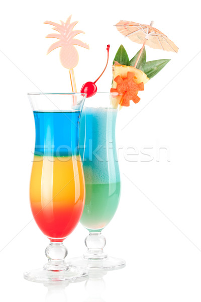 Stock photo: Two tropical cocktails with decoration