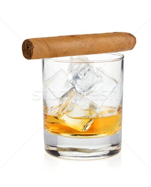 Whisky vidrio cigarro aislado blanco naranja Foto stock © karandaev