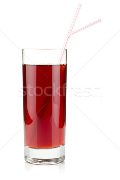 Pomegranate juice in a glass with two drinking straws Stock photo © karandaev