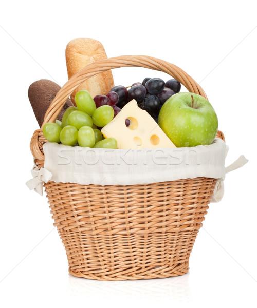 Piknik sepeti ekmek meyve yalıtılmış beyaz gıda Stok fotoğraf © karandaev