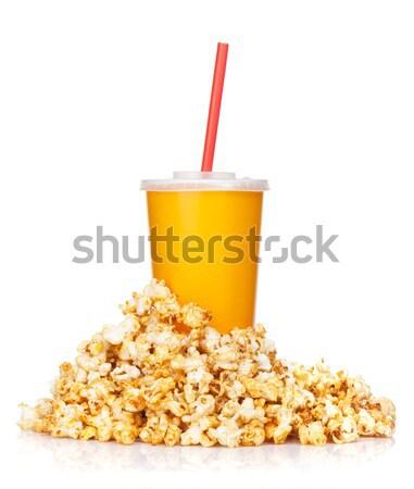 Stock fotó: Pattogatott · kukorica · gyorsételek · ital · csésze · izolált · fehér