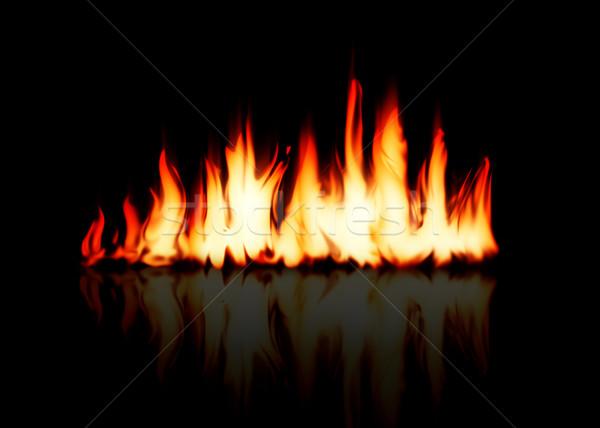 Yanan yangın alev yansıma siyah ışık Stok fotoğraf © karandaev