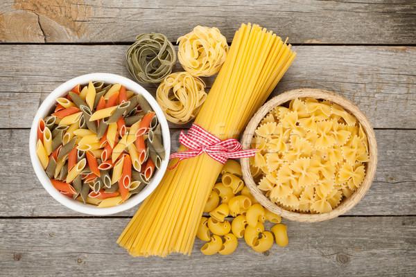 Foto stock: Macarrão · mesa · de · madeira · velho · comida · madeira · cozinha