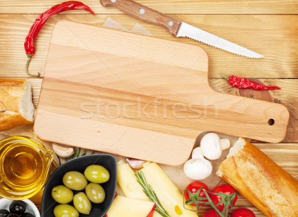 üres vágódeszka copy space étel különböző háttér Stock fotó © karandaev