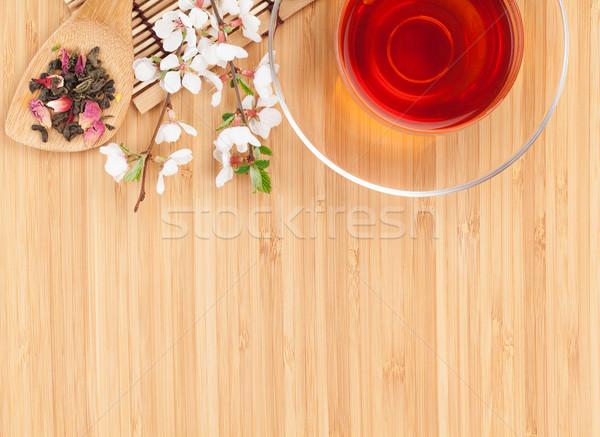 Stock fotó: Japán · zöld · tea · sakura · ág · bambusz · asztal