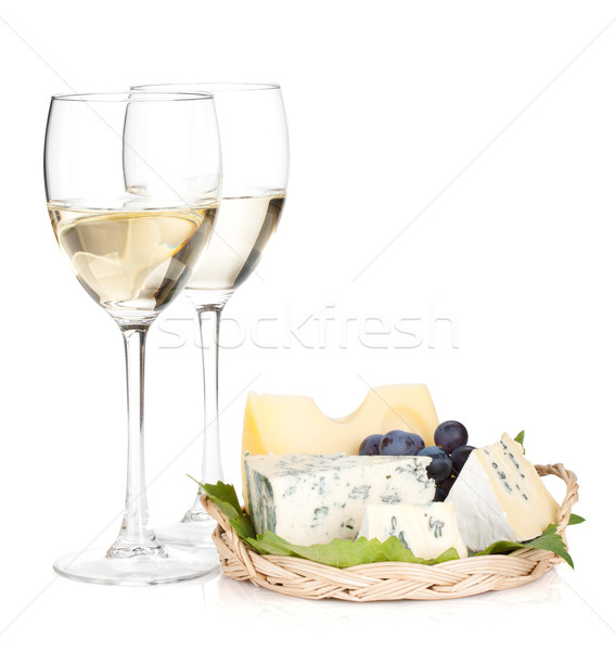 Cheese, grape and two white wine glasses Stock photo © karandaev