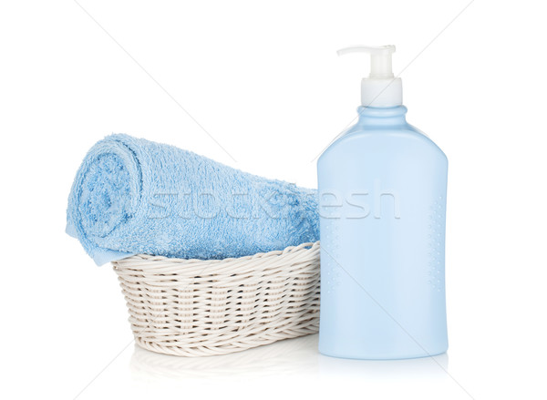 Sampon üveg kék törölköző izolált fehér Stock fotó © karandaev