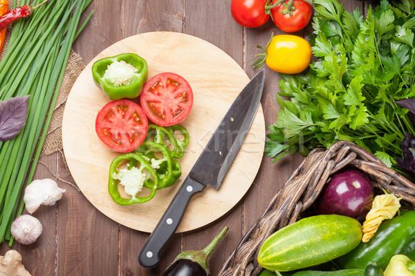 Stok fotoğraf: Taze · çiftçiler · bahçe · sebze · otlar · pişirme