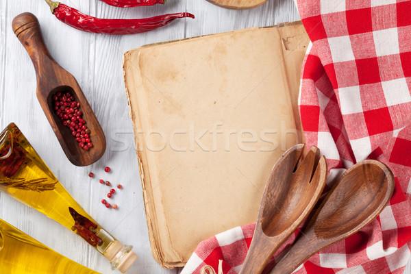 Vintage recette livre ustensiles ingrédients cuisson Photo stock © karandaev
