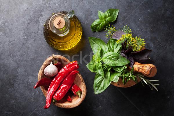 Giardino erbe olio chili fresche peperoncino Foto d'archivio © karandaev