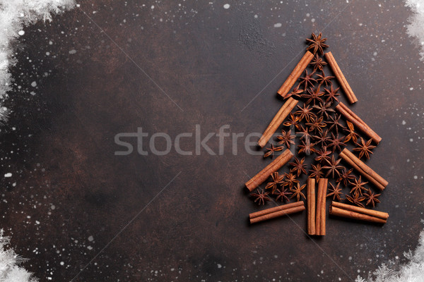 Anise and cinnamon spices christmas tree Stock photo © karandaev