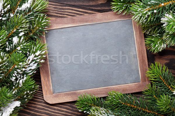 Karácsony tábla fenyőfa hó fa asztal felső Stock fotó © karandaev