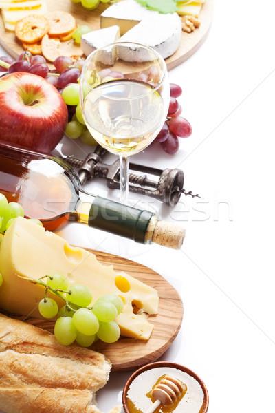 ストックフォト: ワイン · ブドウ · チーズ · ソーセージ · 白ワイン · パン