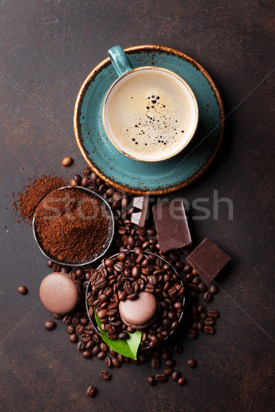 Coffee cup, beans, chocolate Stock photo © karandaev