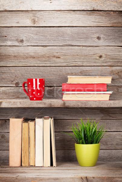 öreg könyvek fából készült polc kávéscsésze növény Stock fotó © karandaev