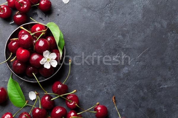 Stock fotó: Friss · kert · cseresznye · tál · kő · asztal