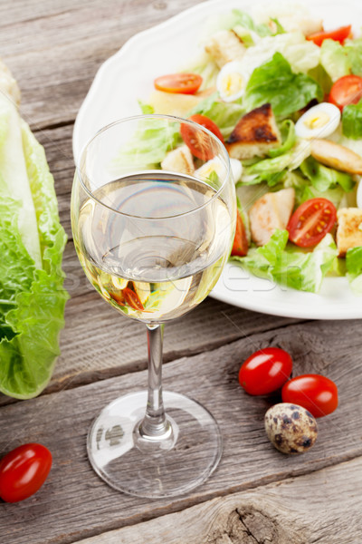 Fresh healthy salad and white wine Stock photo © karandaev