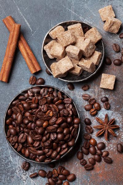 Stockfoto: Koffiebonen · suiker · top · textuur · voedsel