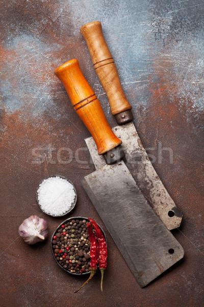 Stockfoto: Vintage · vlees · messen · specerijen · slager · metaal