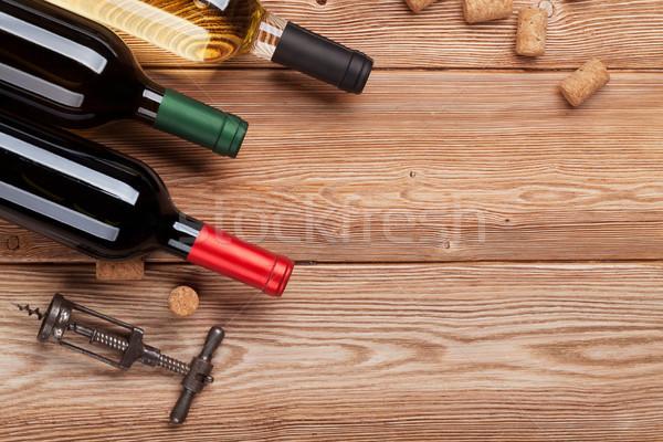 вино бутылок деревянный стол красный белое вино Top Сток-фото © karandaev
