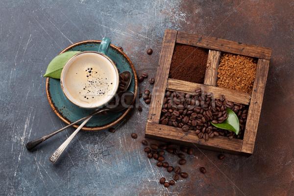 コーヒーカップ 豆 地上 コーヒー 先頭 ストックフォト © karandaev