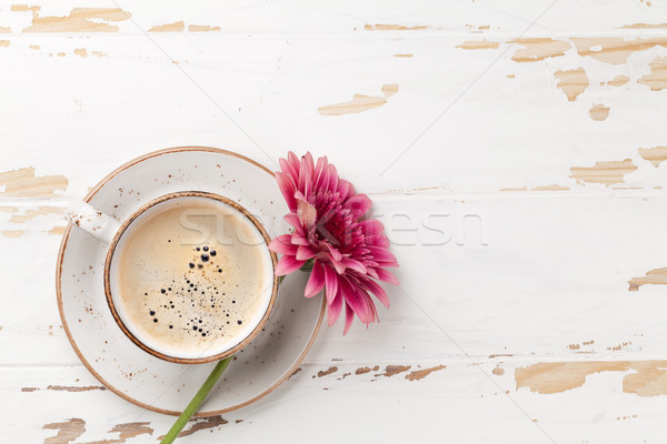 Coffee cup and gerbera flower Stock photo © karandaev
