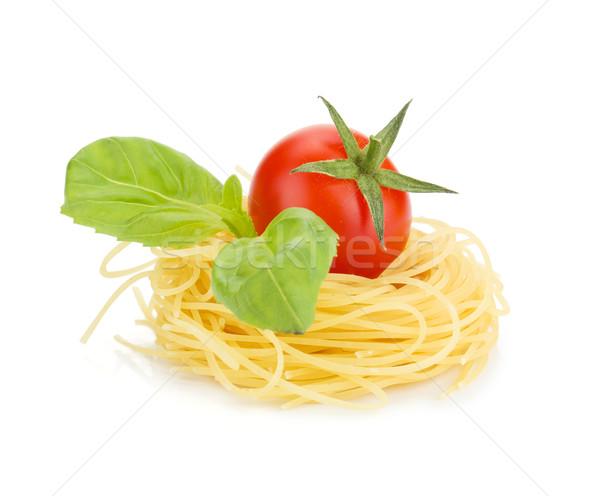 Cherry tomato, basil and pasta Stock photo © karandaev