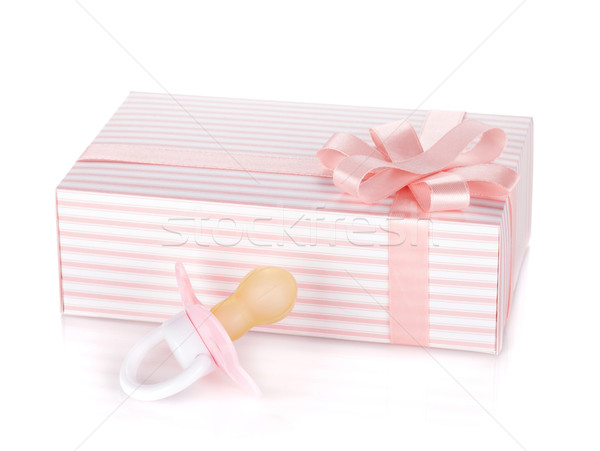 Gift box and pacifier for little girl Stock photo © karandaev