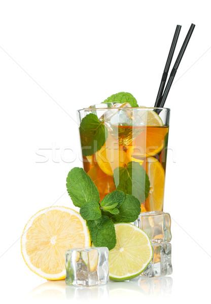 Stockfoto: Glas · citroen · kalk · mint · geïsoleerd